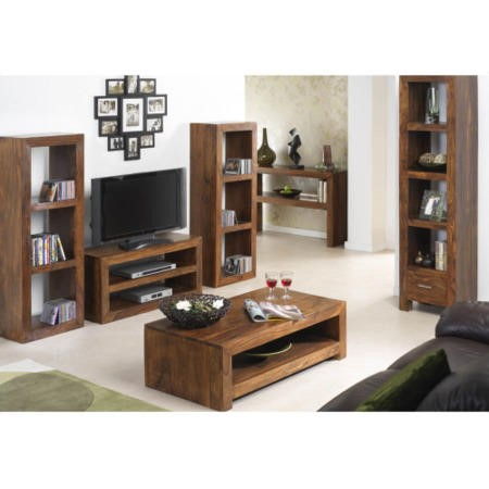 GRADE A1 -  Laguna Sheesham 4 Shelf 1 Drawer Display Cabinet
