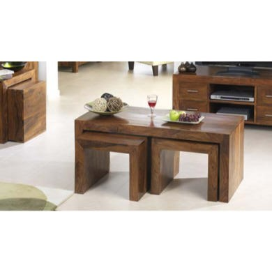Heritage Furniture UK Laguna Sheesham Nest of 3 Coffee Tables