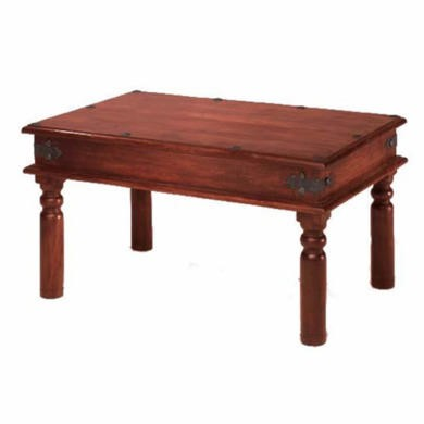 GRADE A1 - Heritage Furniture UK Delhi Indian Rivet Top Rectangular Coffee Table - 45 x 45cm