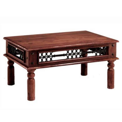 Heritage Furniture UK Delhi Indian Metalwork Sides Rectangular Coffee Table - 60 x 60cm