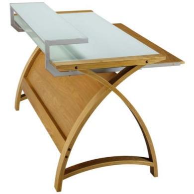 Jual Furnishings Delta Home Office Desk in Oak and White  W130cm x D64cm x H84cm