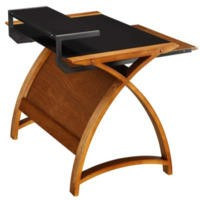 Jual Furnishings Delta Home Office Desk in Walnut and Black - W130cm x D64cm x H84cm