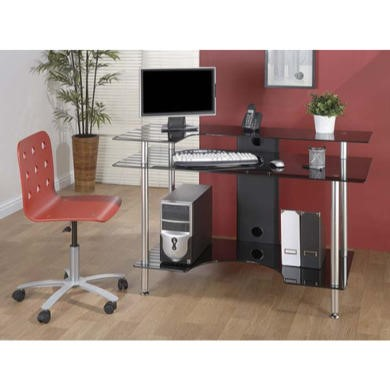 FOL061127 Jual Furnishings Pilot Black Glass Desk PT001 LRB