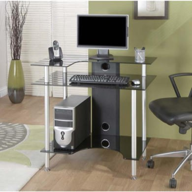 FOL061129 Jual Furnishings Pilot Small Black Glass Desk PT002 SRB