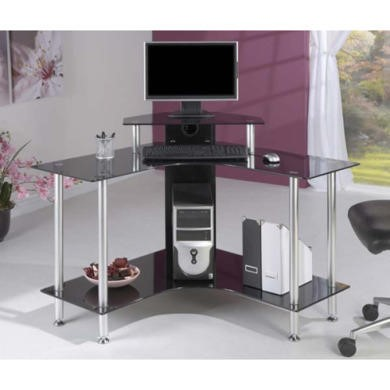 FOL061133 Jual Furnishings Pilot Small Black Glass Corner Desk PT004 SCB