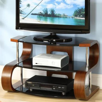 Jual Furnishings Harkin Black Glass TV Stand in Walnut