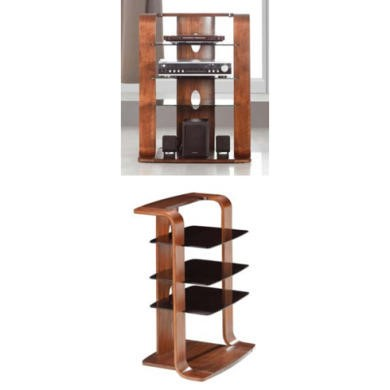 Jual Furnishings Caleb Black Glass Hi-fi Unit in Walnut CL204