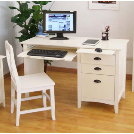 Maine White Computer Desk And Chair Set Furniture123