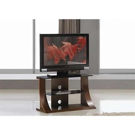 "Langdon Small Black Glass TV Unit with Wooden Frame - TV's up to 32"" - 39"""