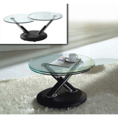 Exclusive UK Tokyo Glass Extending Coffee Table in Black