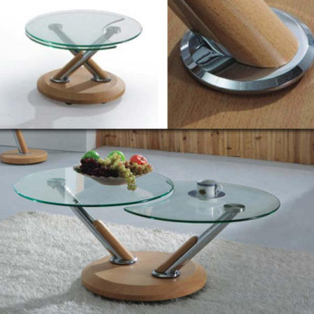 exclusive uk tokyo glass extending coffee table in oak | furniture123