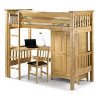Julian Bowen Barcelona Solid Pine Highsleeper Bed