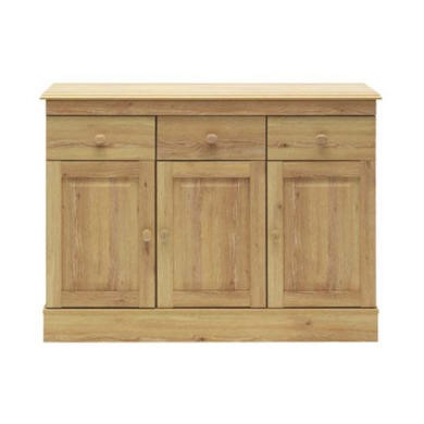 Caxton Furniture Driftwood 3 Door 3 Drawer Sideboard in Oak