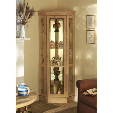 Caxton Furniture Driftwood Cradenza Corner Display Cabinet In Oak
