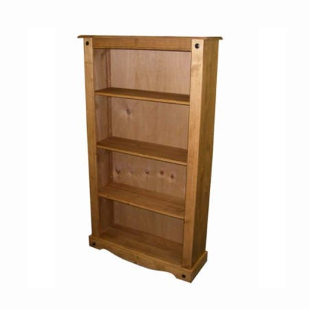 Pine Bookcase with 4 Shelves - Seconique Corona