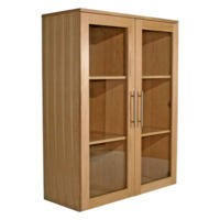Alphason Designs Oakwood Wide Glazed Bookcase