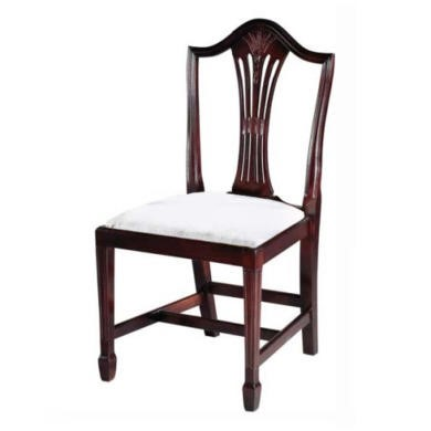 georgian reproduction wheatear sheraton dining chairs pair mahogany