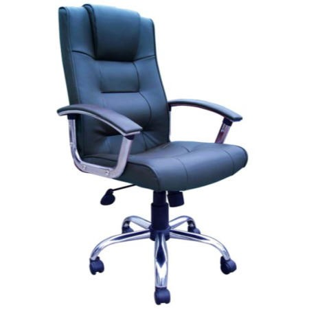 tinsley kirk chrome and blue leather executive chair furniture123