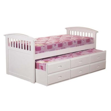 FOL062695 Sweet Dreams Robin Kids Storage Trundle Guest Bed in White