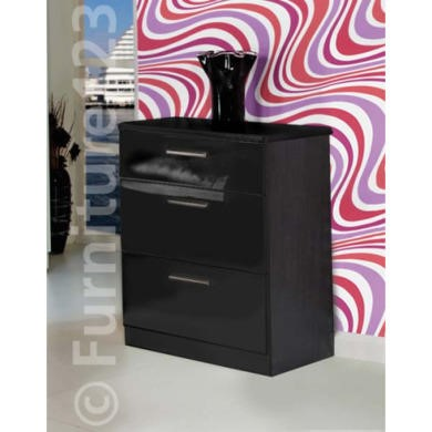 Welcome Furniture Hatherley High Gloss 3 Drawer Chest in Black