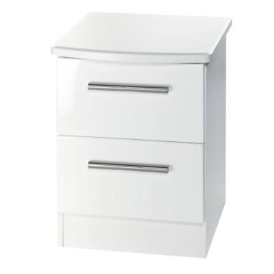 Welcome Furniture Hatherley High Gloss 2 Drawer Bedside Chest in White