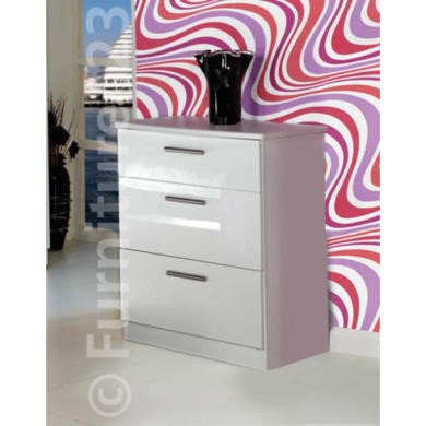 Welcome Furniture Hatherley High Gloss 3 Drawer Chest in White
