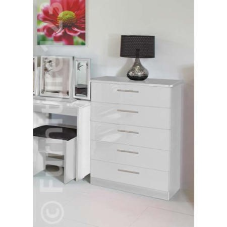 Welcome Furniture Knightsbridge High Gloss 5 Drawer Chest in White