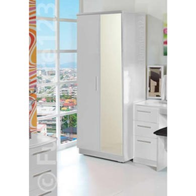 Welcome Furniture Hatherley High Gloss 2 Door Mirrored Wardrobe in White