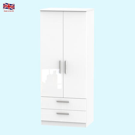 Knightsbridge High Gloss 2 Drawer 2 Door Wardrobe In White