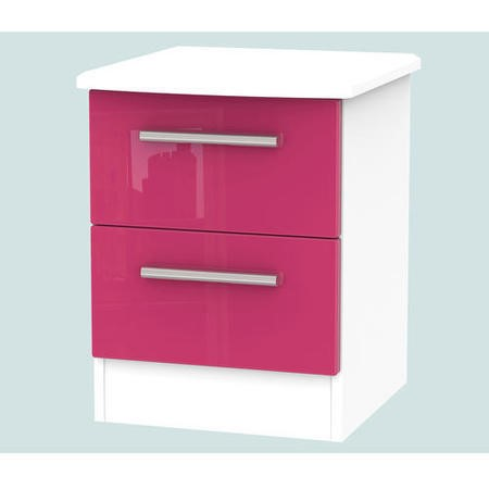 Hatherley High Gloss 2 Drawer Bedside Chest In White And