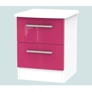 Hatherley High Gloss 2 Drawer Bedside Chest in White and Pink