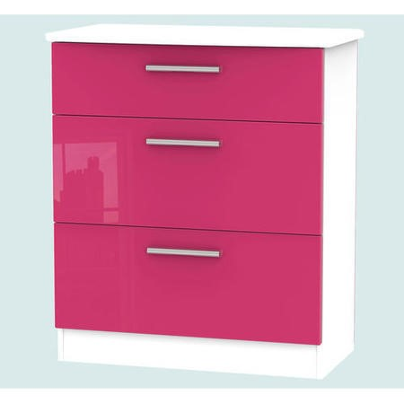 Hatherley High Gloss 3 Drawer Chest in White and Pink