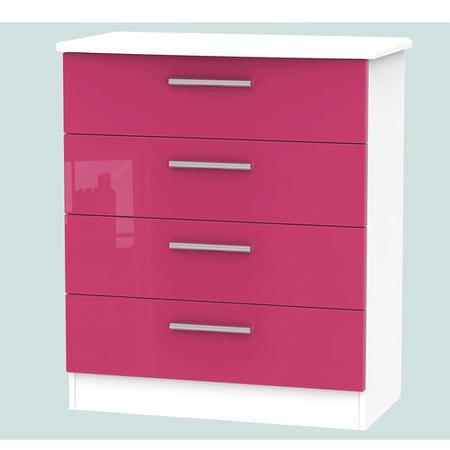 Hatherley High Gloss Small 4 Drawer Chest in White and Pink