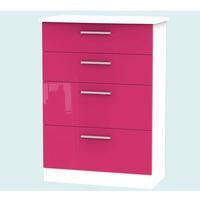 Hatherley High Gloss Large 4 Drawer Chest in White and Pink
