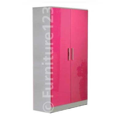 Welcome Furniture Hatherley High Gloss 2 Door Low Wardrobe in White and Pink