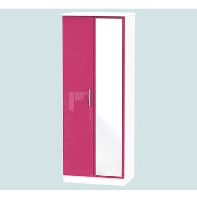 Welcome Furniture Hatherley High Gloss 2 Door Mirrored Wardrobe in White and Pink