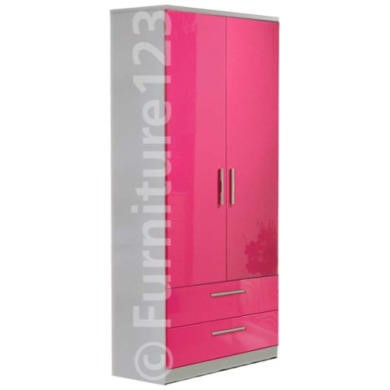 Welcome Furniture Hatherley High Gloss 2 Drawer 2 Door Wardrobe in White and Pink