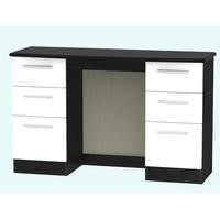 Knightsbridge Large Dressing Table in White and Black High Gloss