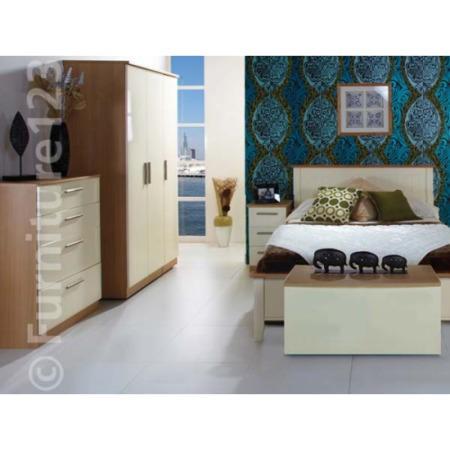 Hatherley High Gloss 4 Piece Oak And Cream Bedroom Storage