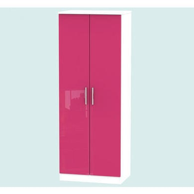 Welcome Furniture Hatherley High Gloss 2 Door Wardrobe in White and Pink