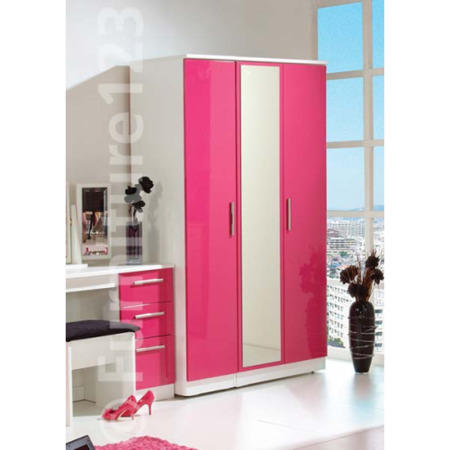 Hatherley High Gloss 3 Door Mirrored Wardrobe in White and Pink ...