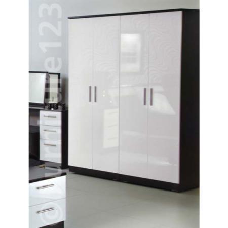 Welcome Furniture Hatherley High Gloss 4 Door Wardrobe In Black And White Black Base White