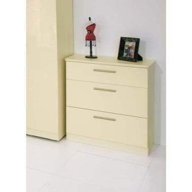 Welcome Furniture Hatherley High Gloss 3 Drawer Chest in Cream