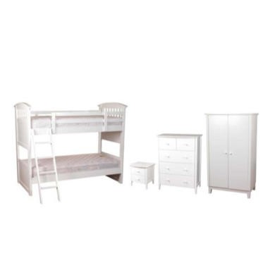 FOL063668 Sweet Dreams Robin Kids Bedroom Furniture Set with Bunk Bed in White