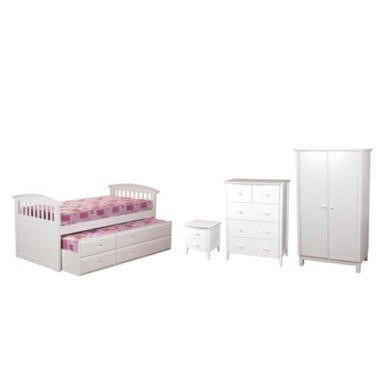 Sweet Dreams Robin Kids Bedroom Furniture Set with Storage Trundle Guest Bed in White  without mattresses