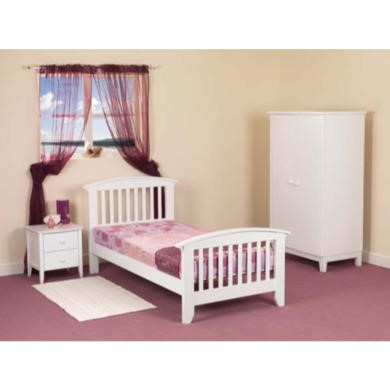 FOL064306 Sweet Dreams Robin Kids Bedroom Furniture Set with Single Bed Frame in White - with mattress