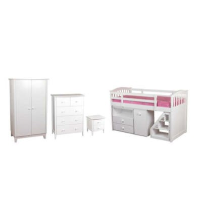 Sweet Dreams Robin Kids Bedroom Furniture Set with Midsleeper Bed in White  without mattress