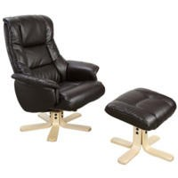 Teknik Office Colorado Swivel Recliner and Footstool with Light Wood Base - brown