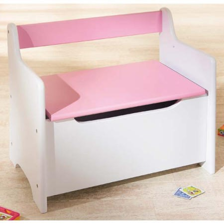 Charming Interlink Isabella Pink And White Childrens Storage Bench