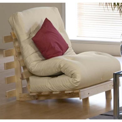 Kyoto Futons Mito Chair Bed Futon with Standard Mattress  brown